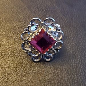 Boutique Stretchy Silver Tone Pink Accent Ring